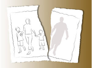 family on a white torn paper background